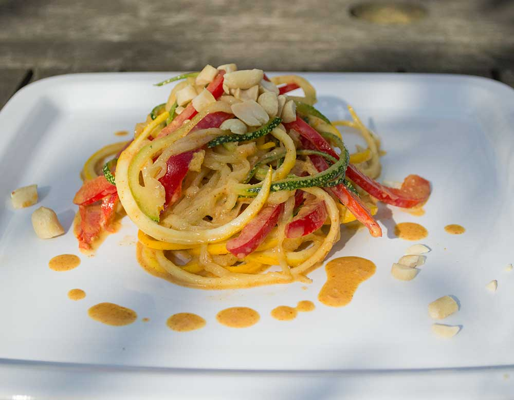 Courgette Noodles with Spicy Peanut Sauce
