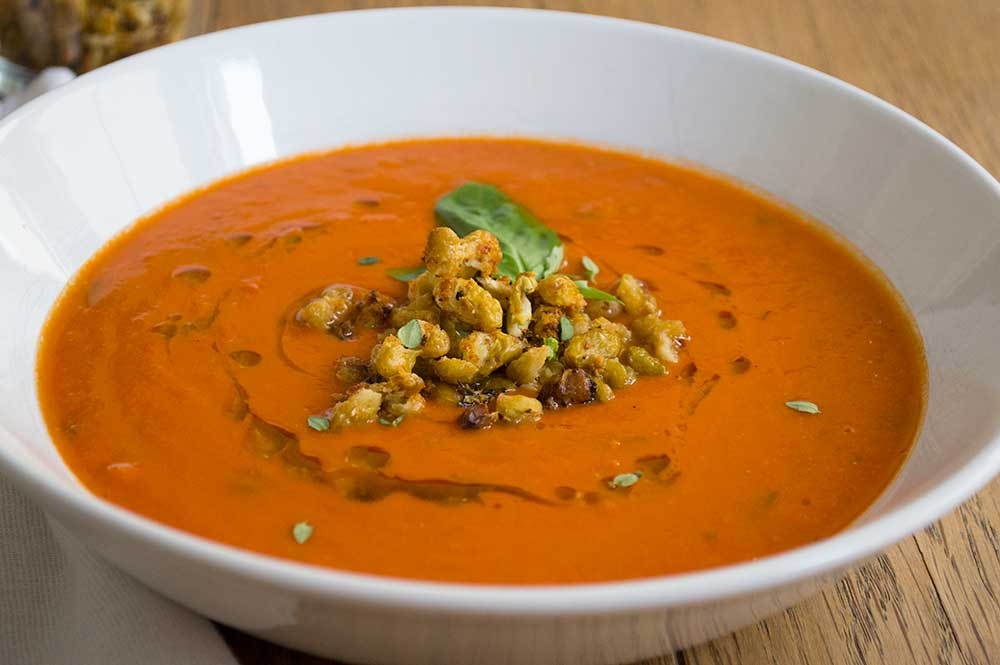 Tomato Soup with Roasted Flageolet Beans